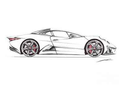 T-shirt Designs Drawing - Nur Jaguar C-x75 Ghost  by Nur Rahman