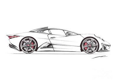 Super Cars Drawing - Nur Jaguar C-x75 Ghost  by Nur Rahman
