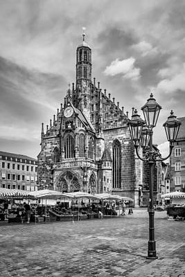 Nuremberg Church Of Our Lady And Main Market Monochrome Art Print by Melanie Viola