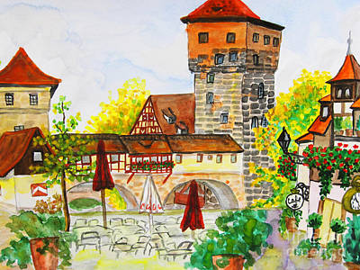 Painting - Nuremberg, Hand Drawn Painting by Irina Afonskaya