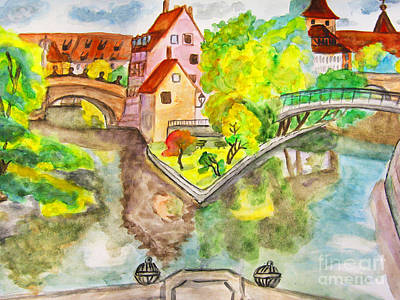 Painting - Nuremberg, Hand Drawn Picture by Irina Afonskaya