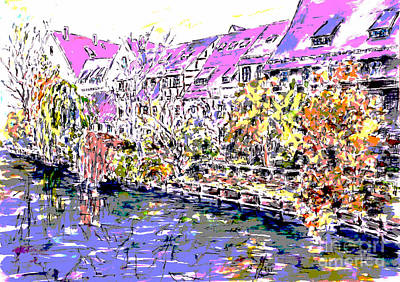 Nuremberg Northern Riverside Of Pegnitz Pop Art Series Art Print