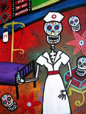 Nurse Dia De Los Muertos Art Print by Pristine Cartera Turkus