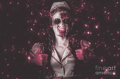 Nurse Operating In Falling Blood. Reign Of Terror Art Print by Jorgo Photography - Wall Art Gallery