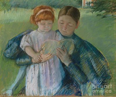 Pastel - Nurse Reading To A Little Girl by Mary Stevenson Cassatt