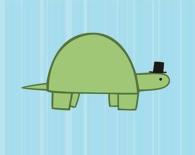 Reptiles Digital Art - Nursery Art Boy Turtle by Christy Beckwith
