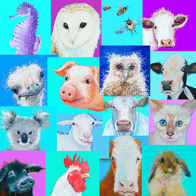 Barn Poster Painting - Nursery Wall Art - Collage Of Animals by Jan Matson