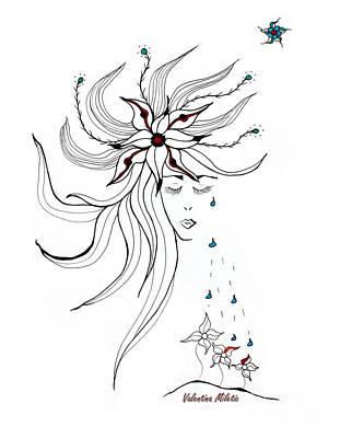 Portrait Drawing - Nurturing You - Art By Valentina Miletic by Valentina Miletic