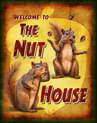 Funny Signs Painting - Nuthouse by JQ Licensing