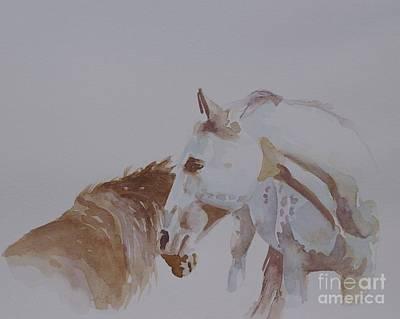 Horse Pastels Painting - Nuzzle by Gretchen Bjornson