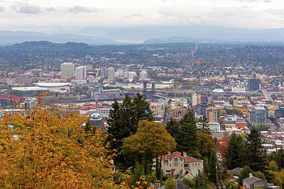 Photograph - Nw And Ne Portland Cityscape During Fall Season by Jit Lim