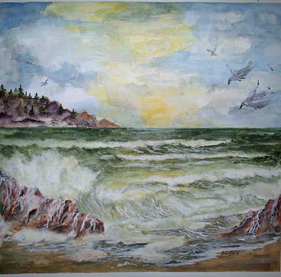 Painting - Nw Coast At Sunset by Carol Grimes