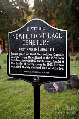 Ny-004 Historic Newfield Village Cemetery Art Print by Jason O Watson