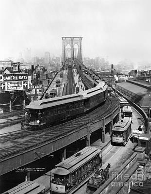 Photograph - Ny: Brooklyn Bridge, 1898 by Granger