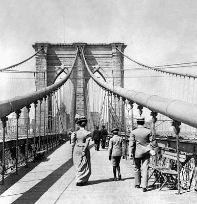 Painting - Ny: Brooklyn Bridge, 1899 by Granger