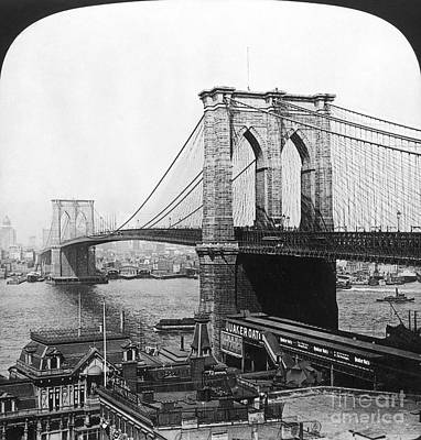 Painting - Ny: Brooklyn Bridge, 1901 by Granger
