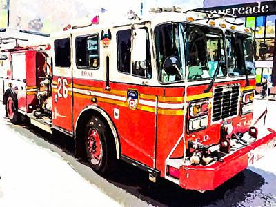 Painting - Ny Firetruck by Jeelan Clark