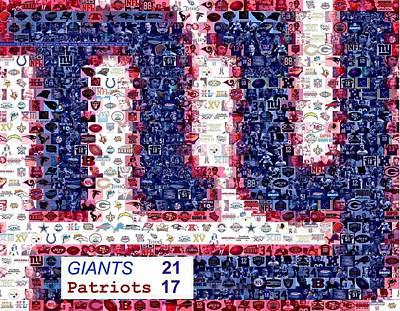 Ny Giants Super Bowl Mosaic Art Print by Paul Van Scott