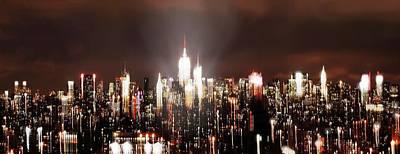 City Photograph - Ny Skyline Abstract Night  by HQ Photo