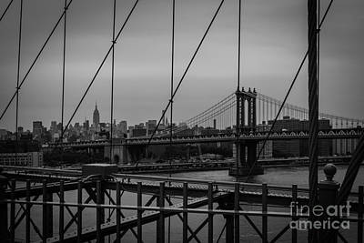 Photograph - Ny Skyline From Brooklyn Bridge by Franz Zarda