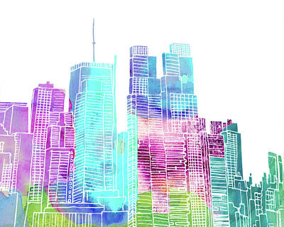New York City Skyline Mixed Media - Ny Skyline II by Marilu Windvand