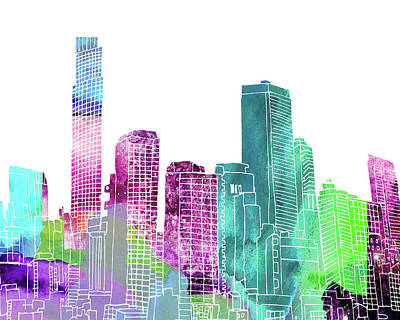 New York City Skyline Mixed Media - Ny Skyline IIi by Marilu Windvand