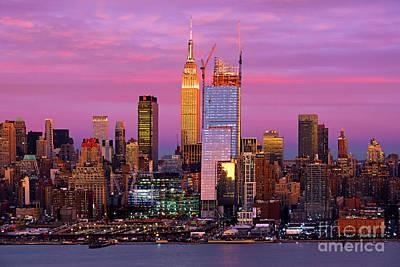 Christmas Trees - NY Skyline Sundown Purples  by Regina Geoghan