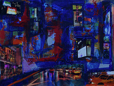 Painting - Ny Times Square Night No 1 by Walter Fahmy