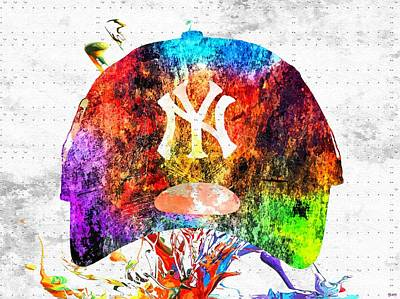 Ny Yankees Mixed Media - Ny Yankees Cap Grunge by Daniel Janda