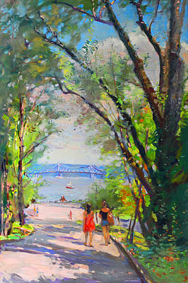 Hudson Painting - Nyack Park A Beautiful Day For A Walk by Ylli Haruni