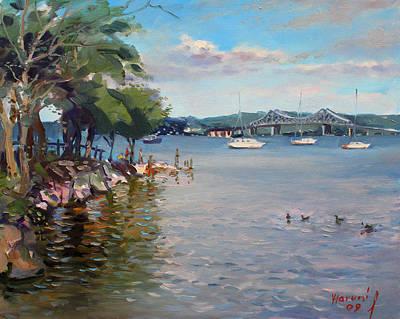 Fisherman Painting - Nyack Park By Hudson River by Ylli Haruni