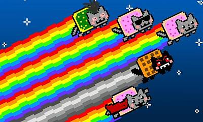 Graphic Digital Art - Nyan Cat by Super Lovely
