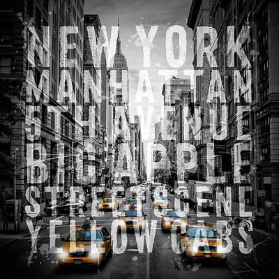 Modern Art Digital Art - Nyc 5th Avenue Traffic Typography II by Melanie Viola