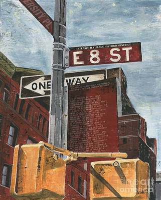 Street Lights Painting - Nyc 8th Street by Debbie DeWitt
