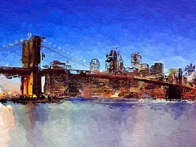 Brooklyn Bridge Mixed Media - Nyc Abstract  by Anthony Fishburne