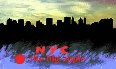 Nyc Mixed Media - Nyc Big Apple Skyline  by Enki Art
