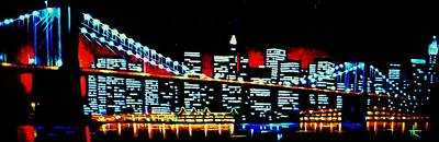 New York City Skyline Painting - Nyc Black Light by Thomas Kolendra
