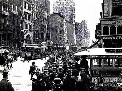 Photograph - Nyc Broadway - 1899 - A Hat On Every Man's Head by Merton Allen