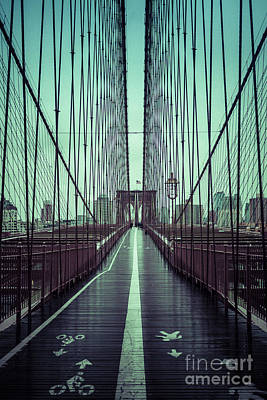 Photograph - Nyc Brooklyn Bridge Bwr by Edward Fielding