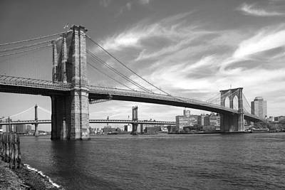 East River Photograph - Nyc Brooklyn Bridge by Mike McGlothlen