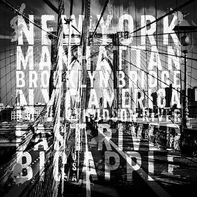 Nyc Brooklyn Bridge Typografie No1 Art Print by Melanie Viola