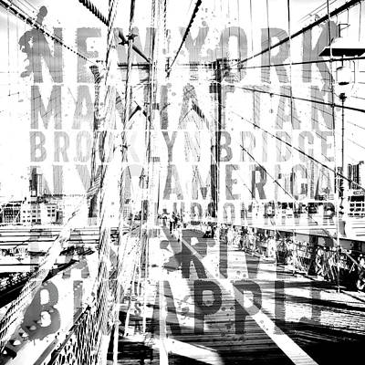 Square Art Digital Art - Nyc Brooklyn Bridge Typography No2 by Melanie Viola