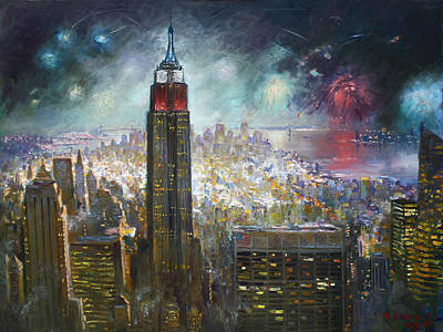 Fireworks Painting - Nyc. Empire State Building by Ylli Haruni