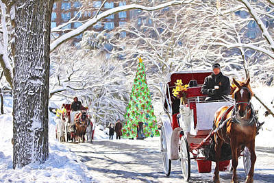 Festive Winter Carriage Rides Art Print