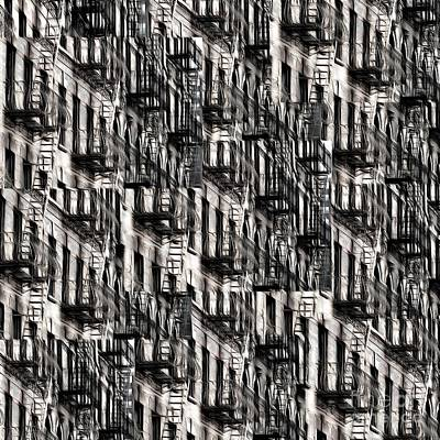 Photograph - Nyc Fire Escapes by Edward Fielding