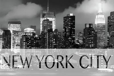 Photograph - Nyc Font Bw by Rospotte Photography