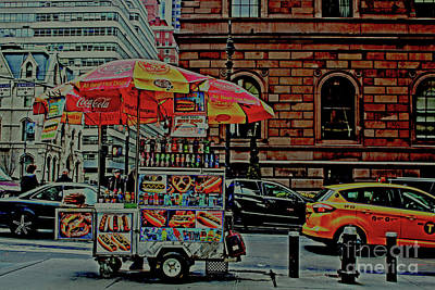 New York City Food Cart Art Print by Sandy Moulder