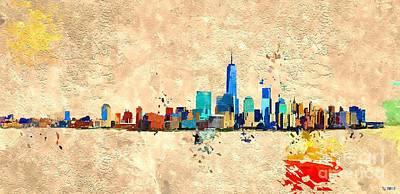 Skylines Mixed Media - NYC Grunge by Daniel Janda