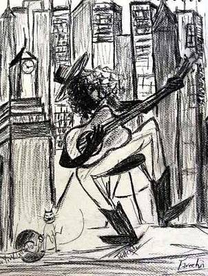 Drawing - Nyc Guitar Slinger by Fareeha Khawaja