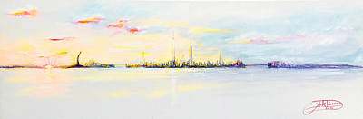 Painting - Nyc Harbor Sunset by Jack Diamond